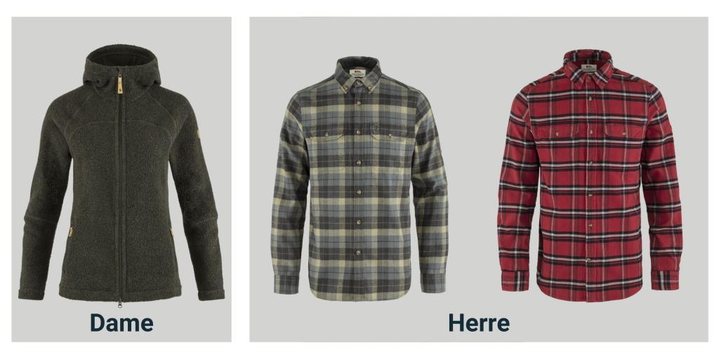 Produktbilder av Kaitum Fleece og Singi Heavy flannel skjorte fra Fjällräven